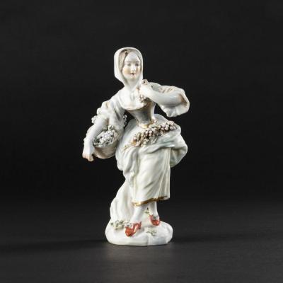 Figurine en porcelaine polychrome, XIXe
