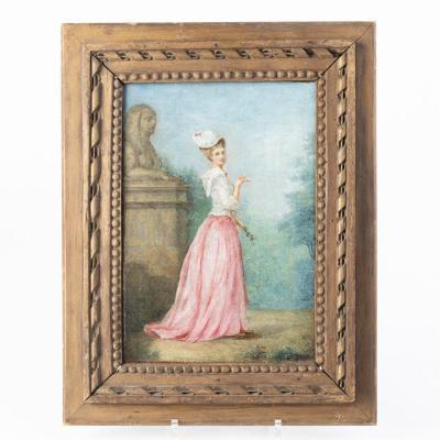 École Française, portait de jeune femme dans un parc, huile sur panneau, XIXe