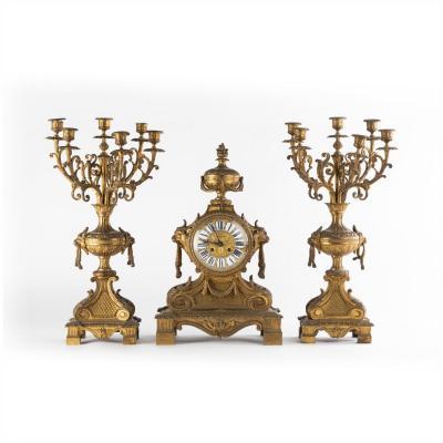 Garniture de cheminée en bronze doré, XIXe