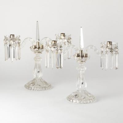 Baccarat, paire de chandeliers en cristal taillé, XXe