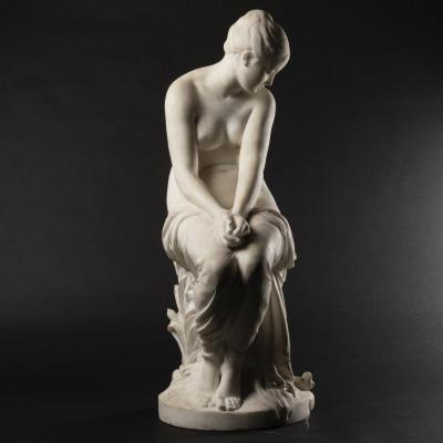 August Joseph Peiffer (1832-1886), Nymphe, sculpture en marbre de Carrare, XIXe