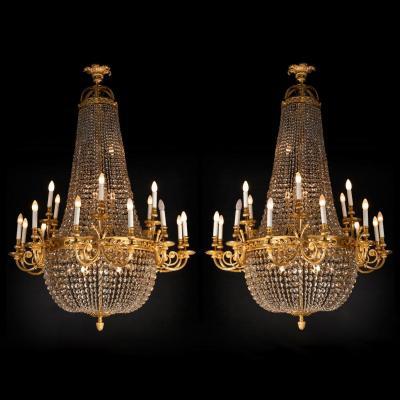 Paire de lustres montgolfière en cristal taillé et bronze doré ciselé, XIXe