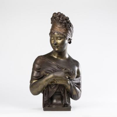 According To Joseph Chinard (1756-1813), Bust Of Madame Récamier, Bronze, 19th Century