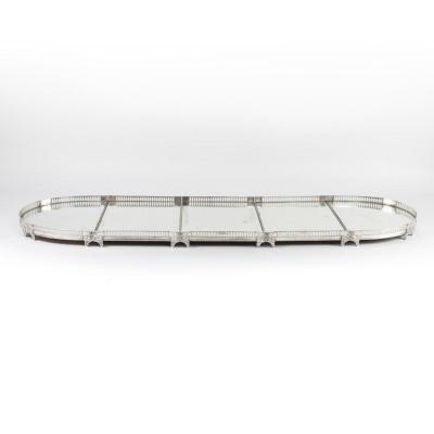 Surtout de table en cinq parties en bronze argenté ciselé et à fond de miroir, XIXe