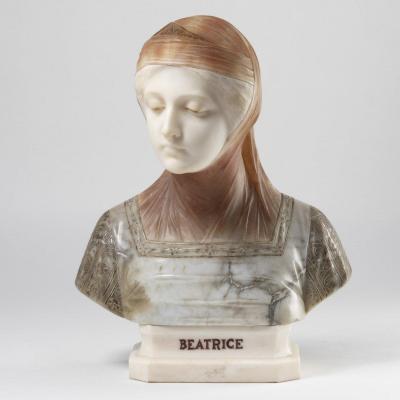 Giuseppe Bessi (1857-1922), Beatrice, sculpture en marbre et albâtres, XIXe