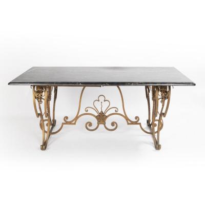 Table de salle à manger en fer forgé et plateau en marbre Porthore, XXe