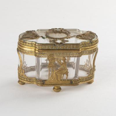 Coffret à bijoux de style Empire en verre et cuivre ciselé, XIXe