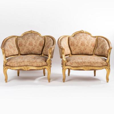 Salon en bois doré et garniture en soie, XIXe