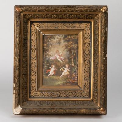 Bigot (XIXe-XXe ?), Paire de plaque en céramique aux angelots, XIXe