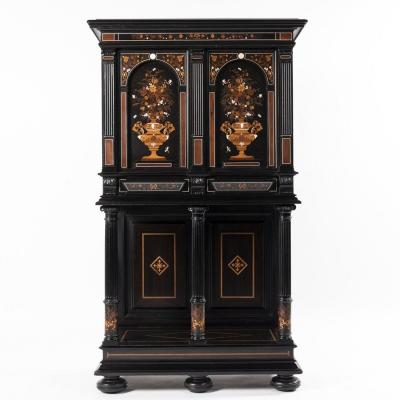 Charles Hunsinger (1823 - 1893) et Charles Adolphe Frédéric Wagner, cabinet marqueté, XIXe