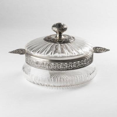Compotier en cristal taillé et monture en argent, XIXe