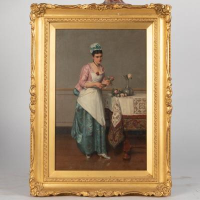Albert Glibert (1832-1917), Jeune femme préparant un bouquet de roses, XIXe