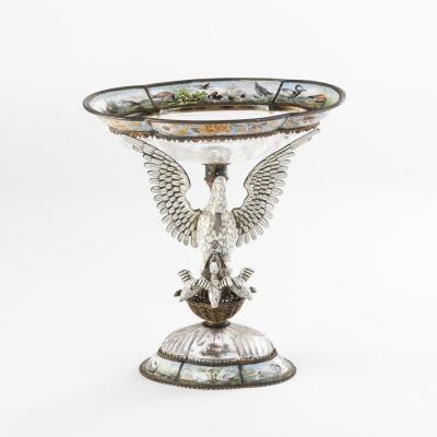 Coupe en cristal de roche et argent doré à la cigogne et décors émaillés, XIXe