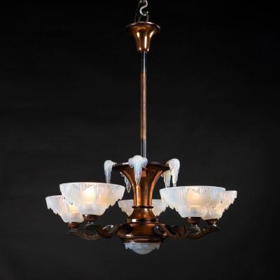 Suspension Art Déco en cuivre et verre opalescent , XXe