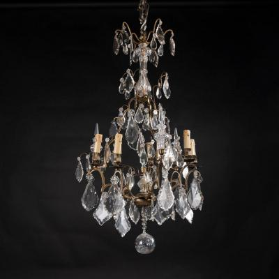 Lustre cage en bronze à pampilles de cristal, XXe