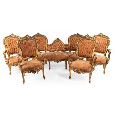 Salon composé d'une banquette et 4 fauteuils d'époque Napoléon III, XIXe