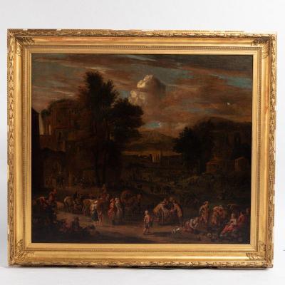 Attribué à Pieter Bout (1658-1719) et Adriaen Frans Van Bondewyns (1644-1711), « Paysans et orientaux au marché », XVIIIe
