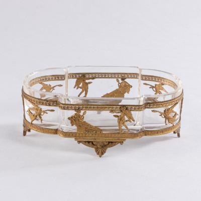 Jardinière de style Empire en cristal et monture en laiton ciselé, XIXe