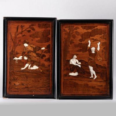 Paire de panneaux en marqueterie de bois, os et ivoire figurant des dictons italiens, XVIIIe