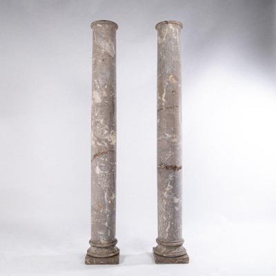 Paire de colonnes doriques en marbre gris veiné, XIXe