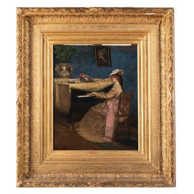 Alphonse Hirsch (1843-1884), La pianiste, huile sur toile, cadre en bois doré, XIXe