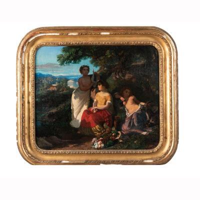 Attribué à Camille Roqueplan (1803-1855), Allégorie de la musique, huile sur toile, XIXe