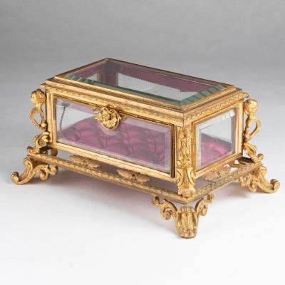 Coffret à bijoux en verres biseautés et bronze doré, XIXe