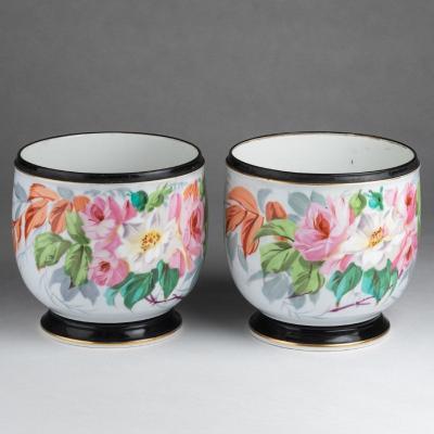 Paire de cache-pots en porcelaine de Paris, XIXe