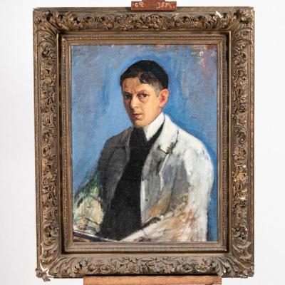 Huile sur toile, Portrait de Peintre, XIXe