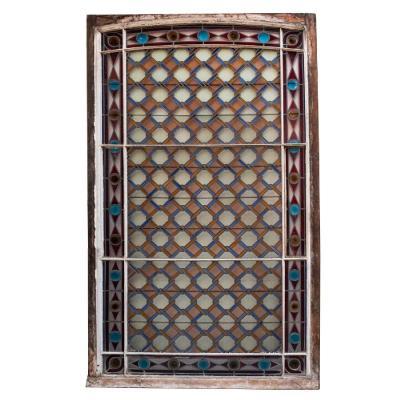 Vitrail à motif géométrique, fin XIXe, début XXe