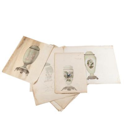 Série d'aquarelles et dessins de vases d'une manufacture, XIXe