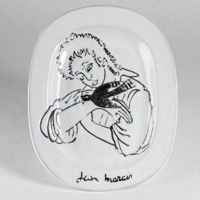 """Jean Marais (1913-1998), Plat """"L'enfant et l'oiseau"""", XXe"""