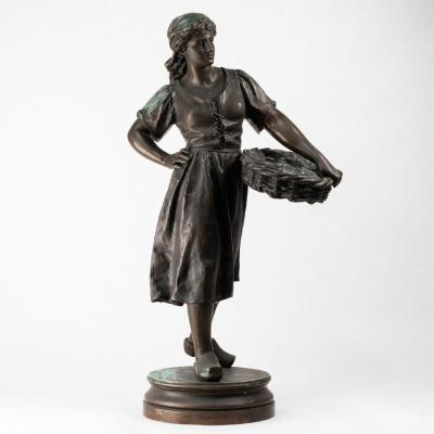 Ernest Rancoulet (1842-1918), la Femme au panier de coquillages, bronze, XIXe