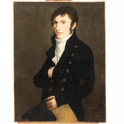 Portrait d'homme, huile sur toile, XIXe