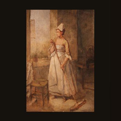 """Huile sur toile """" Paysanne dans sa cuisine """", XIXe"""