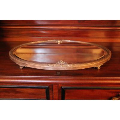 Surtout de table en bronze argenté et miroir, XIXe