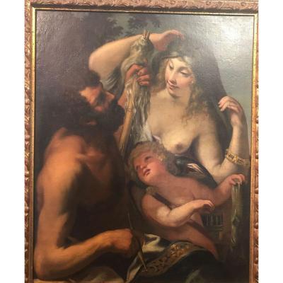 Raffaelo Vanni (sienne 1595-1673), Hercule Et Omphale Huile Sur Toile 116x86 Cm