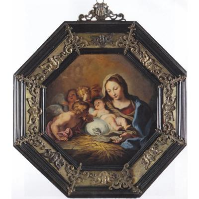 17th Century Roman School, Madonna With Child And Angels, Oil On Copper, 24 Cm