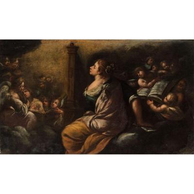 Vincenzo Spisanelli (orta San Giulio 1595 / Bologne 1662) Sainte Cécile Et Les Anges. 1650-1660