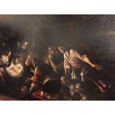 Francesco Bassano (1549 - Venice 1592)  Adoration Of The Shepherds At Night Oil On Canvas