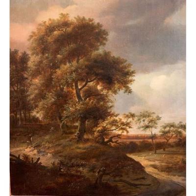 Jan Wijnants (harlem 1632-1684 Amsterdam), Paysage Avec Dunes, Wayfarer, Moutons Et Une Ville.