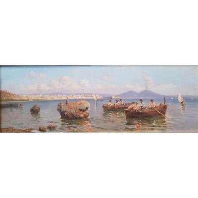 Giuseppe Laezza (Naples 1835, Naples 1905) Marine  avec Naples et Capodimonte huile sur panneau