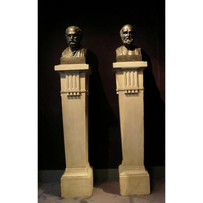 Pair Of Busts Of Hippocrate And Galien, Fathers Of Medicine And Pharmacy, Towards 1819 France