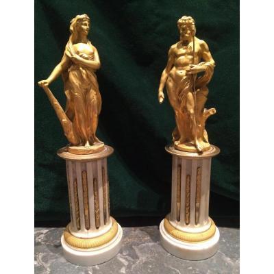 Paire De Bronzes Dores Italie Fin XVIII