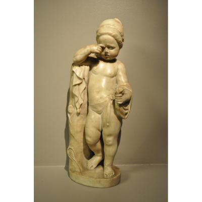 Marbre Representant Un Enfant Pleurant Rome Fin XVII