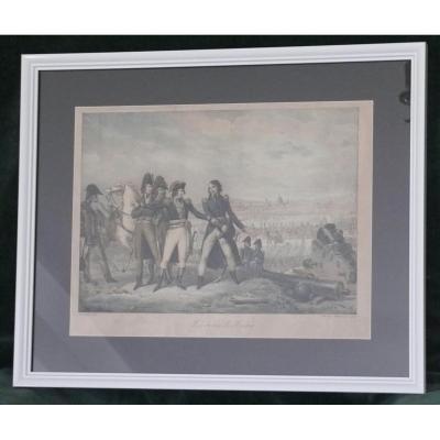 """Lithographie Couleur """"levée Du Siège De Mantoue"""" Chasselat Motte"""