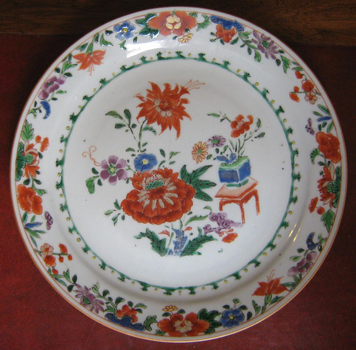 Plate Porcelain China Dite De La India Company, XVIII Time.