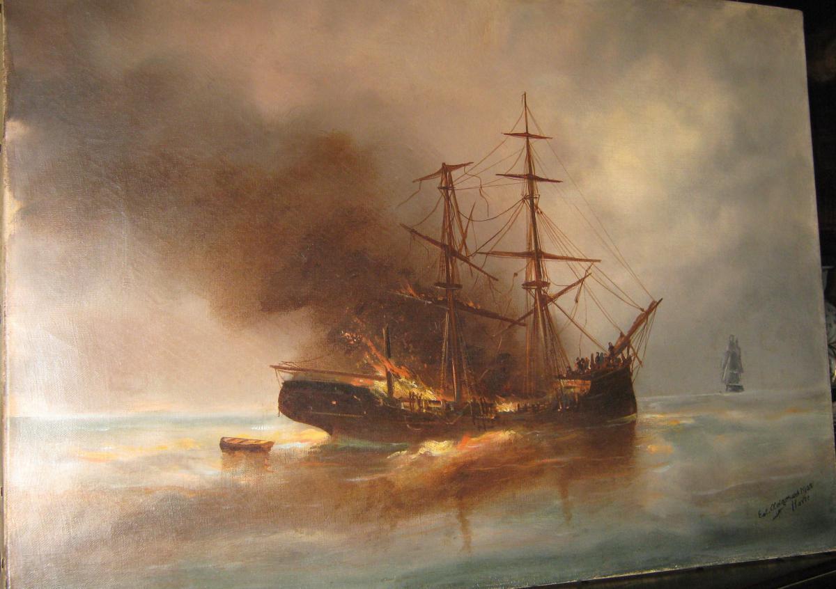 """""""voilier En Flammes Au Crépuscule"""" Edouard Adam 1909."""