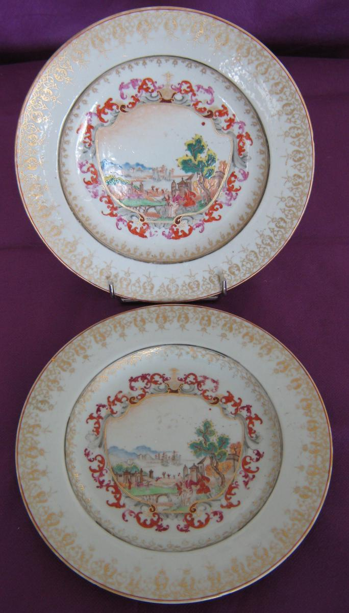 Pair Of Plates In The Company Of India Decor In Style Of Meissen, Eighteenth Century.