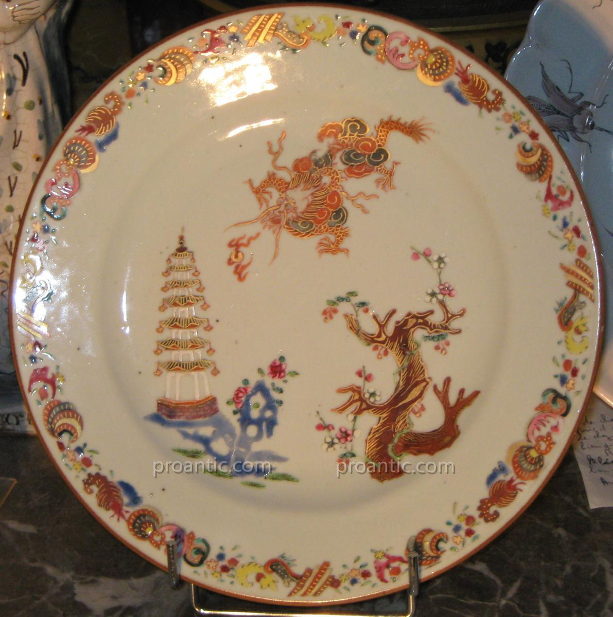 Plate Porcelain China Dite De La Compagnie Des Indes Eighteenth Time.